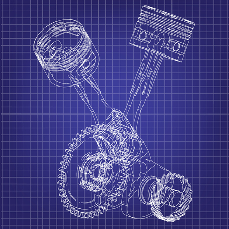 Motorcycle engine on a blue background. Drawing Illustration