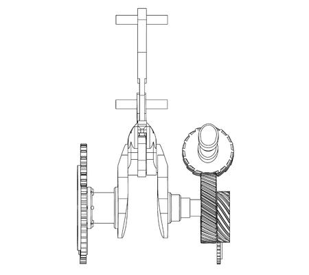 Gears And Crankshaft On A White Background Drawing Royalty Free