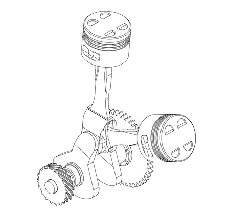 Crankshaft and two pistons on a white background. Drawing Illustration