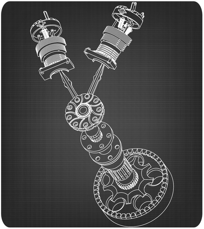 Crankshaft and two pistons on a gray background. Drawing Illustration