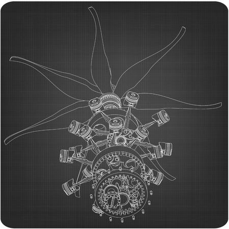 Zerlegter Sternmotor auf grauem Hintergrund. Zeichnung Vektorgrafik