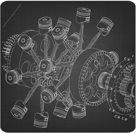 Disassembled radial engine on a gray background. Drawing Illusztráció