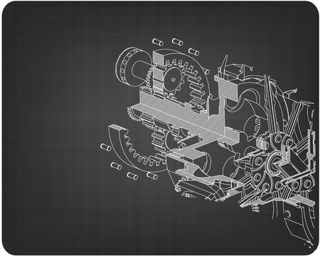 Disassembled radial engine on a gray background. Drawing Ilustração