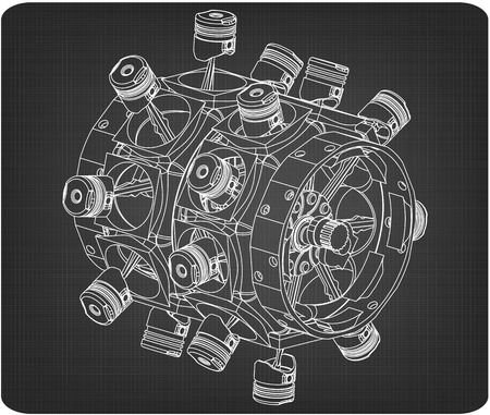Disassembled radial engine on a gray background. Drawing Illustration