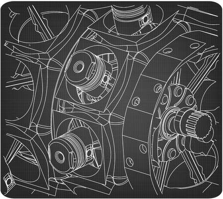 Disassembled radial engine on a gray background. Drawing Vektorové ilustrace