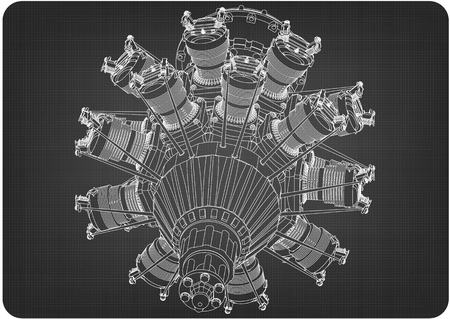 Radial engine on a gray background. Drawing