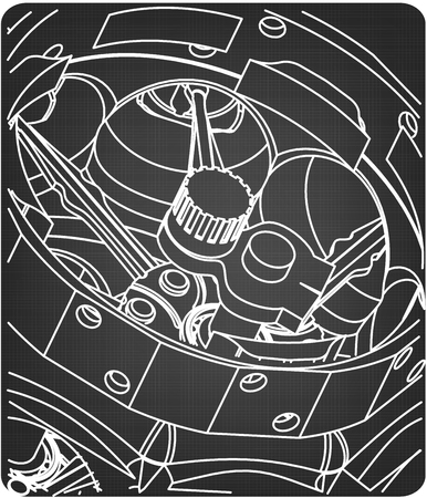 Technical pattern on a gray background. Drawing