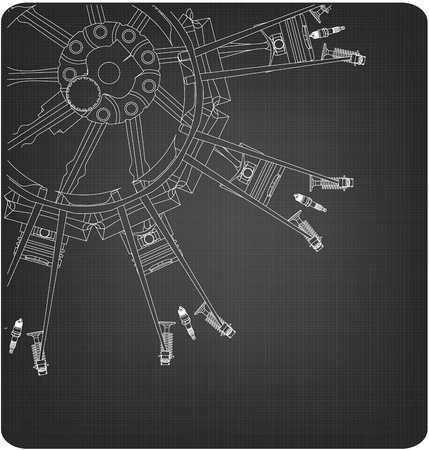 Disassembled radial engine on a gray background. Drawing Vectores