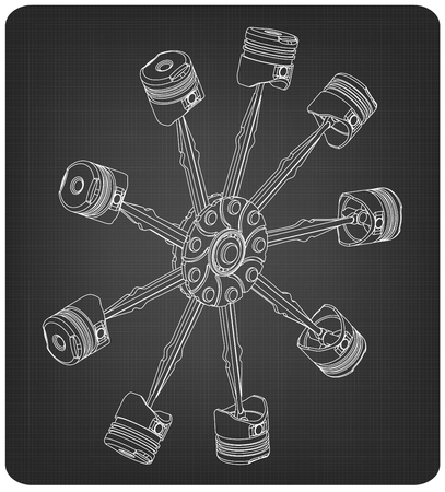 White pistons on a gray background. Drawing