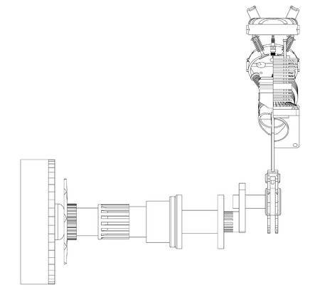 Two pistons and crankshaft on a white background