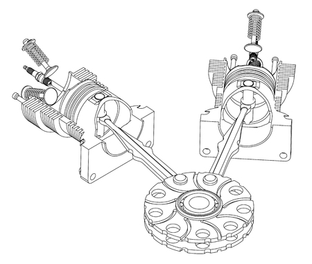 Two piston and valve on a white background. Drawing