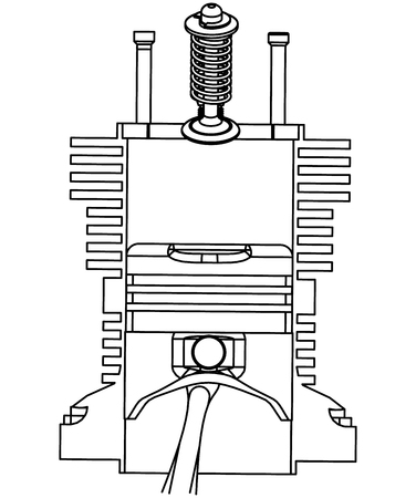 Piston and valve on a white background. Drawing Stock Illustratie