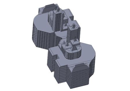 Gray building in the white background 版權商用圖片 - 122650077