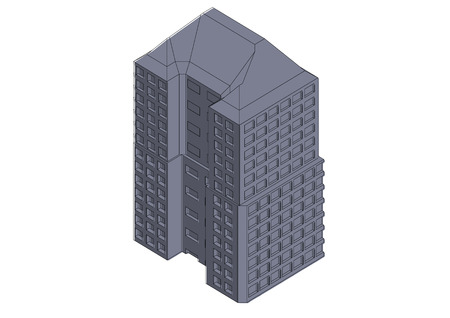 Gray building in the white background
