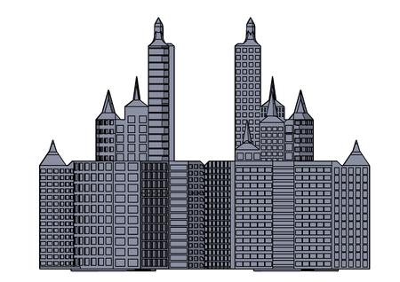 Edificio gris en el fondo blanco. Ilustración de vector