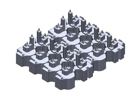 Gray buildings in the white background Foto de archivo - 122650137
