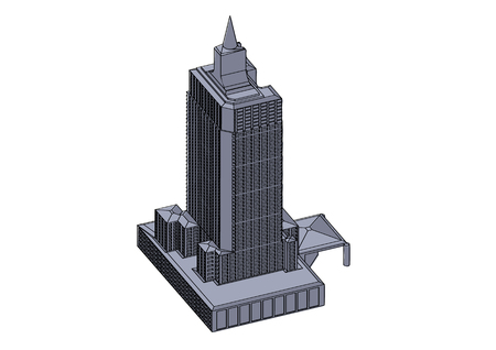 Gray buildings in the white background