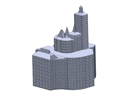 Gray buildings in the white background Foto de archivo - 122650307