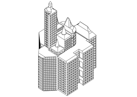 White building in the white background Stock Illustratie