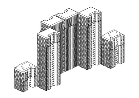Frame of white buildings in the white background Vectores