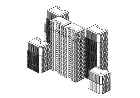 Frame of white buildings in the white background Stock Illustratie