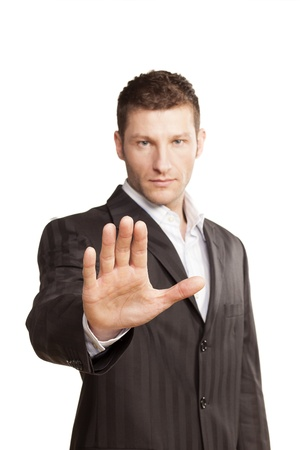 security staff: Business Man With Stop Hand Up On White Background