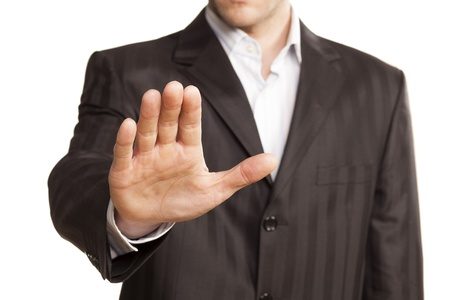 security staff: Male Stop Hand Up On White Background Stock Photo