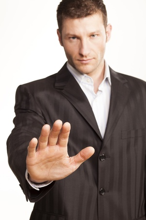 Business Man With Stop Hand Up On White Background Stock Photo - 17759419