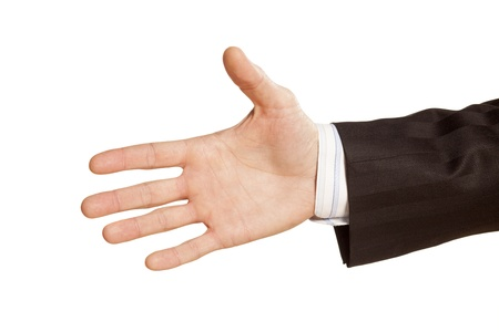 bridging the gap: Male hand for a handshake on white background Stock Photo