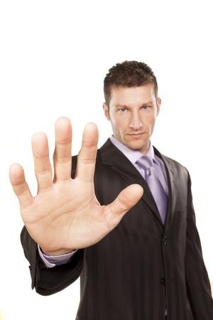 Business Man Met Stop Hand up op witte achtergrond