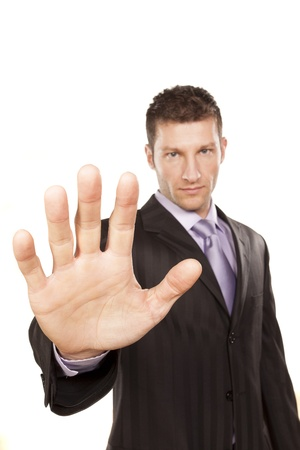 Business Man With Stop Hand Up On White Background Stock Photo - 17759849