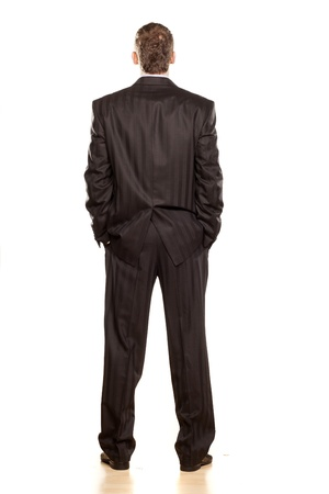 Voir Businessman arrière sur blanc