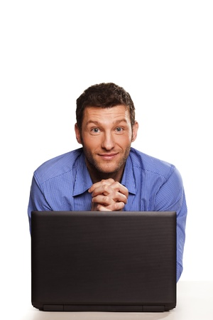 Attractive businessman With Laptop, On White Background photo