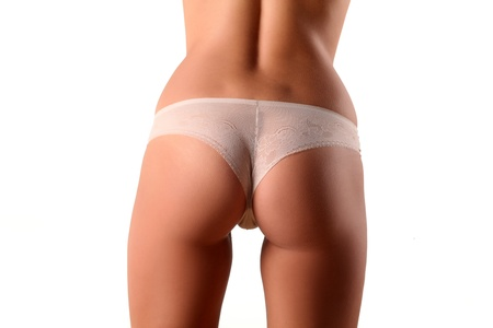 handsome ass girl with white panties on white background photo