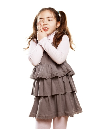 little girl toothache on white background Stock Photo