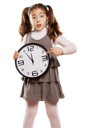 pre adolescent child: upset little girl shows that the short time