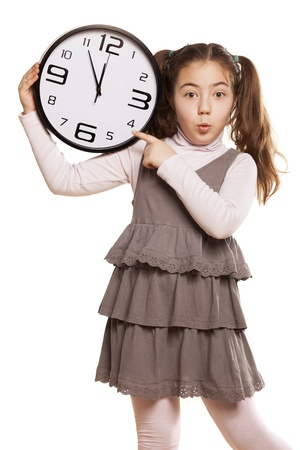 pre adolescent child: Grimacing little girl showing on the clock a little more time to start