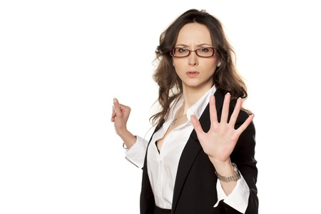 nice business woman with stop placed hand Stock Photo - 18384499