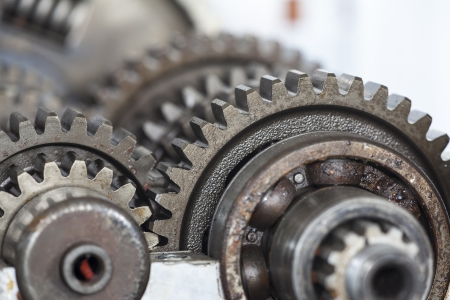 Close up of old gearbox gears  Stok Fotoğraf
