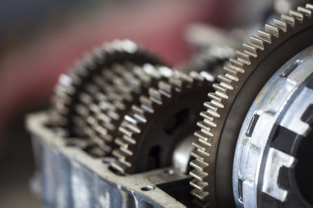 Close up of old gearbox gears  photo