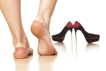 ankles: use of sticky plasters due to tight footwear