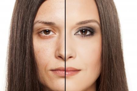 photoshop: een vrouw s gezicht met het uitdelen van voor en na de make-up Stockfoto