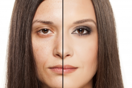 a woman s face with handing out before and after makeup