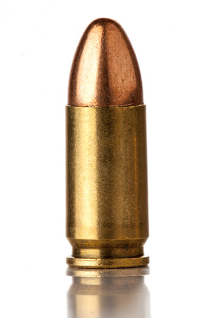 9mm bullet for a gun isolated on a white background