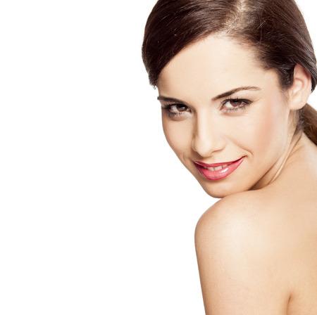 beautiful nude women: young beautiful smiling woman posing on a white background