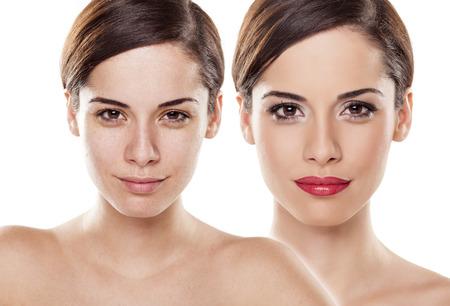 pessoas: Comparação retrato de uma mulher sem maquiagem e com
