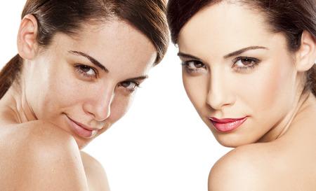 piel humana: Comparaci�n retrato de una mujer sin y con maquillaje