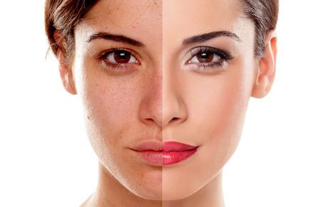 piel humana: Comparación retrato de una mujer sin y con maquillaje