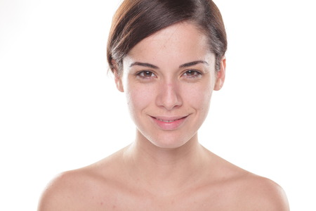 beautiful young woman with only base on her face Stock Photo - 47239698