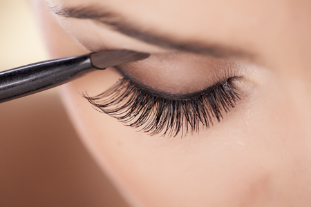 makeup a brush: Woman applying eyeshadow